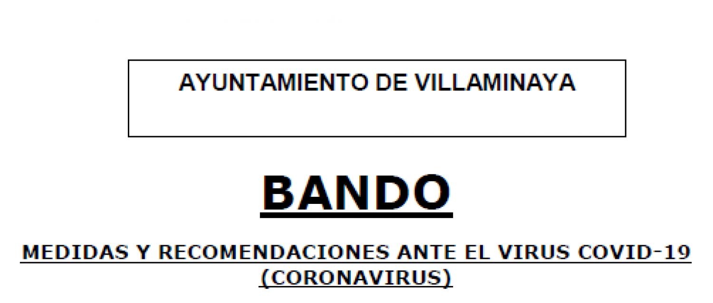 BANDO MUNICIPAL. MEDIDAS Y RECOMENDACIONES ANTE EL VIRUS COVID-19 (CORONAVIRUS)