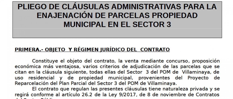 PLIEGO DE CLÁUSULAS ADMINISTRATIVAS PARA LA ENAJENACIÓN DE PARCELAS PROPIEDAD MUNICIPAL EN EL SECTOR 3