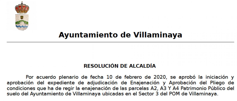REANUDACIÓN DE PLAZOS ADMINISTRATIVOS. ENAJENACIÓN PARCELAS SECTOR 3 POM VILLAMINAYA.