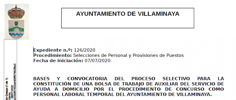 CONVOCATORIA DEL PROCESO SELECTIVO PARA LA CONSTITUCIÓN DE UNA BOLSA DE TRABAJO DE AUXILIARES DEL SERVICIO DE AYUDA A DOMICILIO.