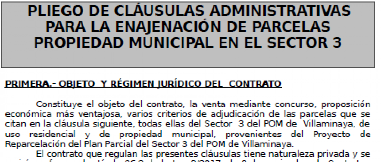 PLIEGO DE CLÁUSULAS ADMINISTRATIVAS PARA ENAJENACIÓN PARCELAS PROPIEDAD MUNICIPAL EN EL SECTOR 3