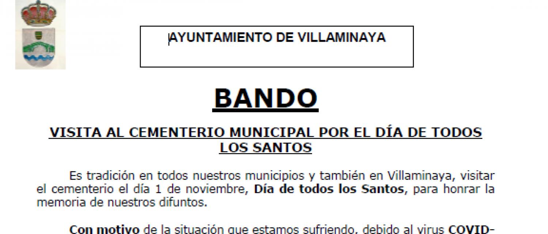 BANDO VISITA AL CEMENTERIO MUNICIPAL POR EL DÍA DE TODOS LOS SANTOS