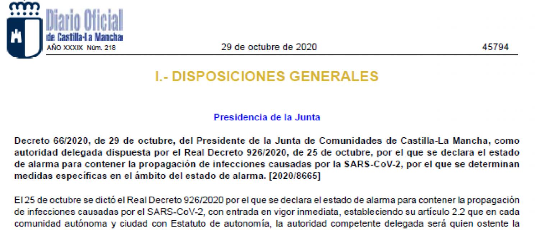 Decreto 66/2020, de 29 de octubre, por el que se determinan las medidas específicas en el ámbito del estado de alarma en Castilla-La Mancha