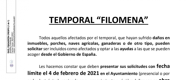 """AYUDAS PARA PALIAR EFECTOS DEL TEMPORAL """"FILOMENA"""""""