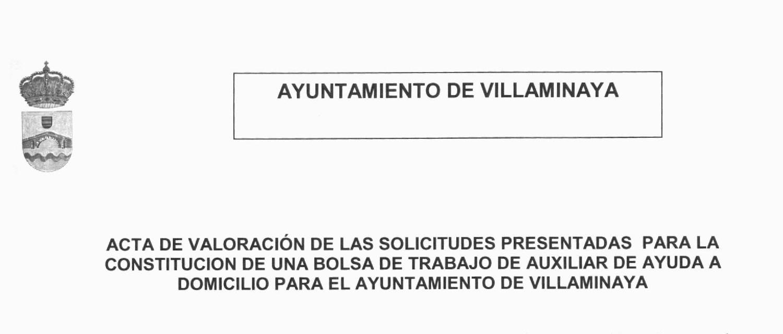 BOLSA TRABAJO AUXILIAR AYUDA DOMICILIO- ACTA
