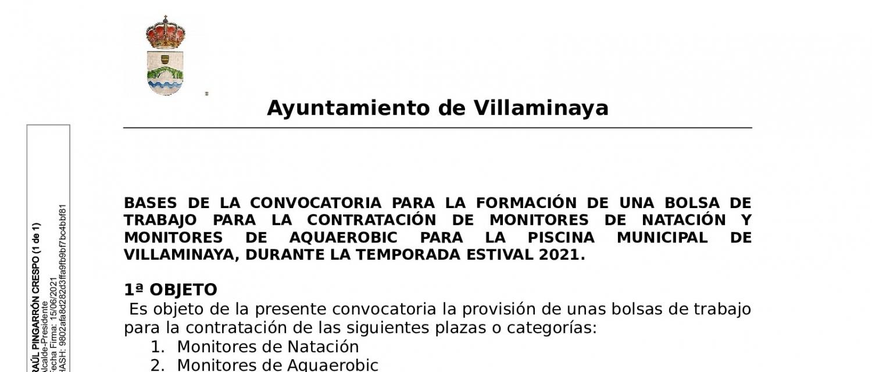 BASES CONVOCATORIA FORMACIÓN BOLSA DE TRABAJO PARA MONITORES DE NATACIÓN Y AQUAEROBIC
