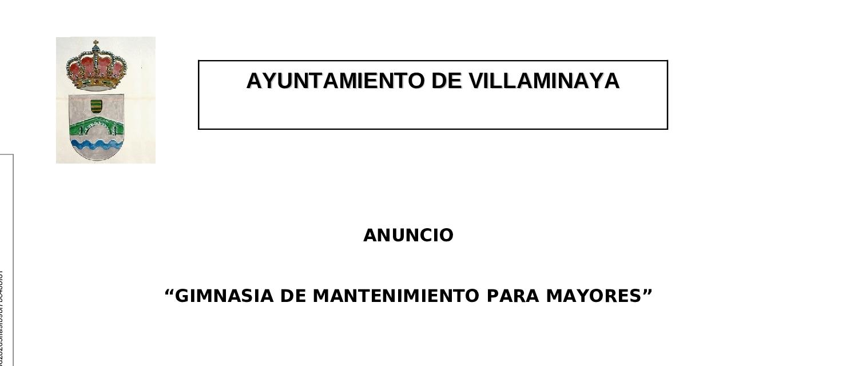 GIMNASIA DE MANTENIMIENTO PARA MAYORES